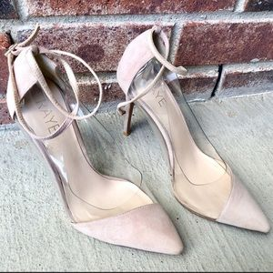 RAYE Tara nude and clear ankle strap heels